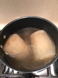 I use chicken broth that I have frozen (time saver)