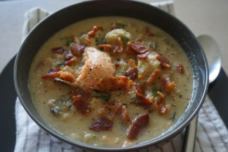 Add the bacon and truffle salt, enjoy your Salmon Bacon Chowder! Mmmmm.